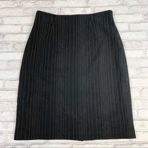Josephine Chaus Black Pinstripe Pencil Skirt Sz 10